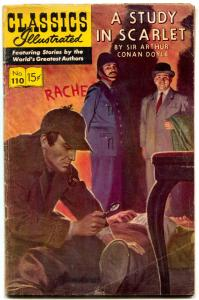 Classics Illustrated #110 HRN 165-Study in Scarlet- Sherlock Holmes VG