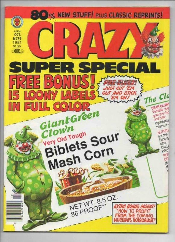 CRAZY #79 Magazine, FN+, Super Special, w/ labels, Magnum PI, 1973 1981, Marvel
