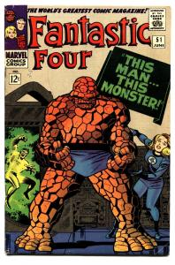 FANTASTIC FOUR #51 THING COVER-1966-MARVEL SILVER AGE comic book