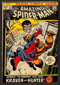 Amazing Spider-Man #111 VG- 3.5 Kraven the Hunter! Marvel Comics Spiderman