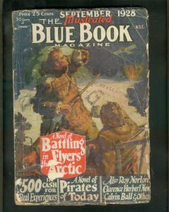 BLUE BOOK PULP-9/1928-PIRATES-FLYERS IN ARTIC-HOBAN ART FR/G