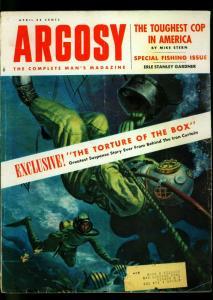Argosy Pulp Magazine April 1955- Frogman cover- Erle Stanley Gardner- VG