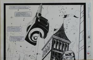 PAT BRODERICK / JOHN NYBERG original art, DOOM 2099 #29 pg 2-3, 17x 22, Double S