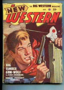 NEW WESTERN-OCT 1949-VIOLENT PULP FICTION-GUNFIGHT COVER-CUSHMAN-vg