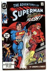 Adventures of Superman #463 comic book 1990- Flash Superman Race-NM-