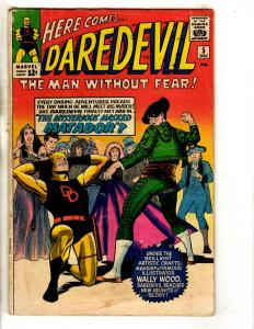 Daredevil # 5 VG Marvel Comic Book Silver Age Foggy Karen Old Yellow Costume FH2