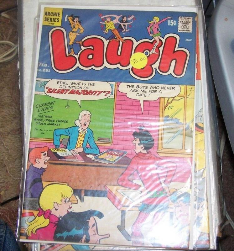 LAUGH  #251 1971, Archie COMICS   ARCHIE JUGHEAD VERONICA BETTY riverdale tv