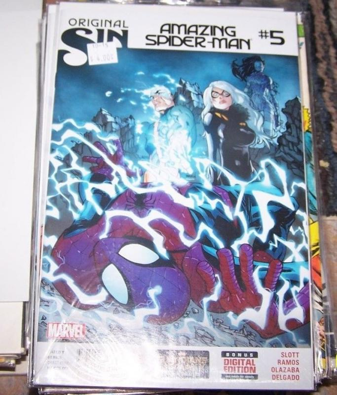 Amazing Spider-Man #5 (October 2014, Marvel) original sin, black cat silk electr