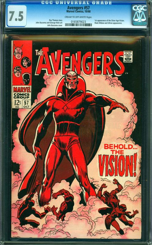 Avengers #57 CGC Graded 7.5 Vision (Silver Age) 1st Appearance