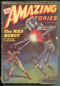 Amazing Stories 1/1944-Ziff-Davis-sci-fi pulp thrills-robot cover & story -VG-