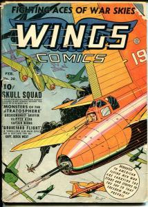 Wings #30 1943-Fiction House-Gene Fawcette air battle cover-Skull Squad-G