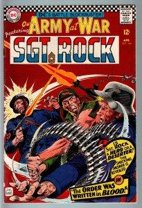OUR ARMY AT WAR #166 1966-DC WAR COMIC-SGT. ROCK-VF- VF-