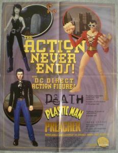 DC DIRECT ACTION FIGURES Promo poster, 17x22, Unused, more Promos in store, b