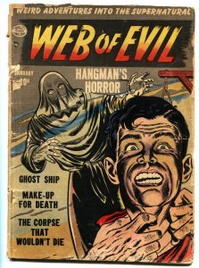 WEB OF EVIL #2 comic book 1953 Hangman noose cover-pre code horror Jack Cole