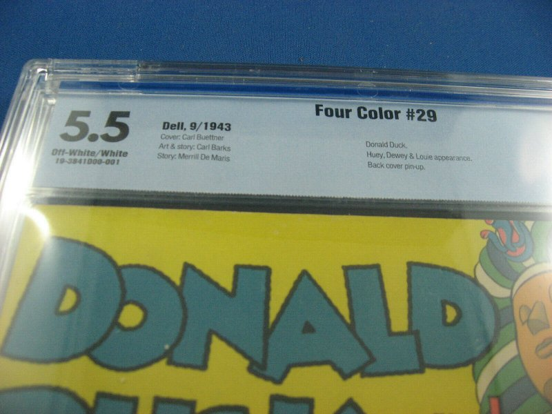 FOUR COLOR 29 DONALD DUCK CBCS GRADED 5.5 CARL BARKS 1943 WOW MUMMYS RING