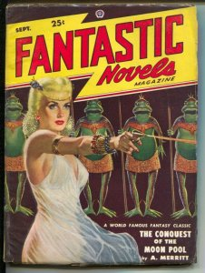 Fantastic Novels-9/1948-Popular-Lawrence GGA cover-Virgil Finlay-A. Merritt-FN