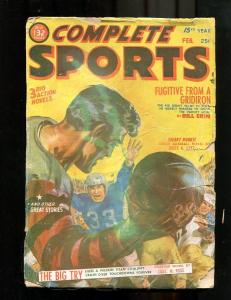 COMPLETE SPORTS PULP-FEB-1952-FOOTBALL-SAUNDERS COVER ! G