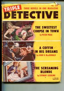 TRIPLE DETECTIVE-FALL 1953-THRILLING-SPICY BABES-JOHN D MACDONALD-PULP-vg+