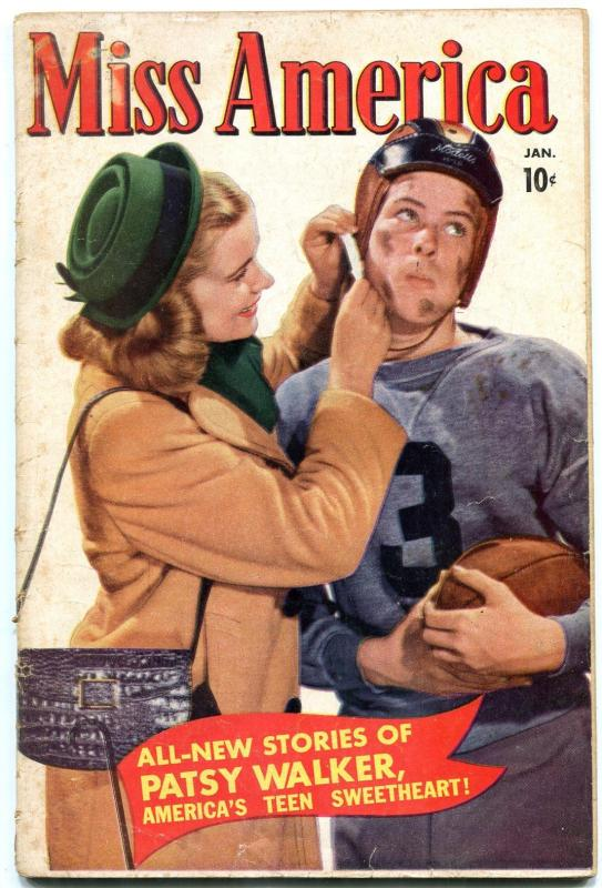 Miss America Vol 7 #37 1951- football cover- Patsy Walker- Jeanie VG
