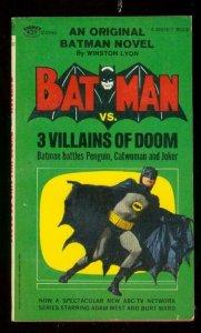 BATMAN vs. 3 WILLAINS OF DOOM PAPERBACK- 1966-ADAM WEST-very fine VF