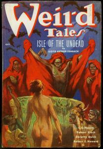 Weird Tales Pulp October 1936-Wild Margaret Brundage cover- Conan VG/F