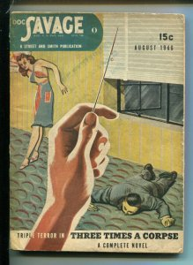 Doc Savage Pulp August 1946- Needle torture cover- John D MacDonald VG