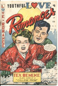 YOUTHFUL LOVE ROMANCES #3-1950--WALTER JOHNSON COVER & STORY ART--SPICY-RARE