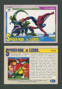 1991 Marvel Comics II  Card  #112 ( Spiderman vs Lizard )  MINT