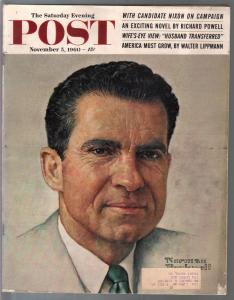 Saturday Evening Post 11/5/1960-Norman Rockwell-Richard Nixon-pulp fiction-VG