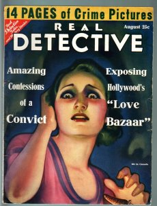 REAL DETECTIVE PULP-AUG 1931-END OF AL CAPONE-HOLLYWOOD SLAVE GIRLS-DOPE-RARE VG
