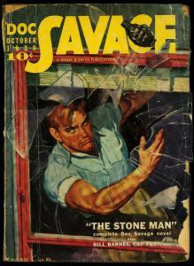 Doc Savage Pulp October 1939- Stone Man- Bill Barnes- Cap Fury G+