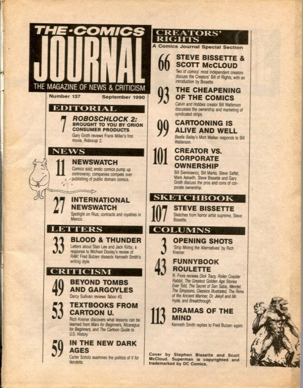Comics Journal #137 1990-Steve Bissette -Scott McCloud- comic fanzine G/VG