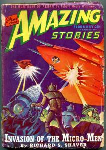 Amazing Stories Pulp February 1946- Invasion of Micro Men G-