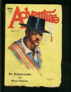 ADVENTURE PULP JUNE 1 1928-CABALLERO by WALT COBURN-WHITFIELD-LEMAY-good G