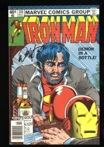 Iron Man #128 VF 8.0 Demon in a Bottle! Signed by Bob Layton!