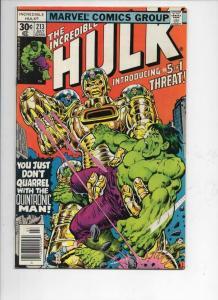 HULK #213, FN, Incredible, Bruce Banner, Quintronic Man, 1968 1977, Marvel