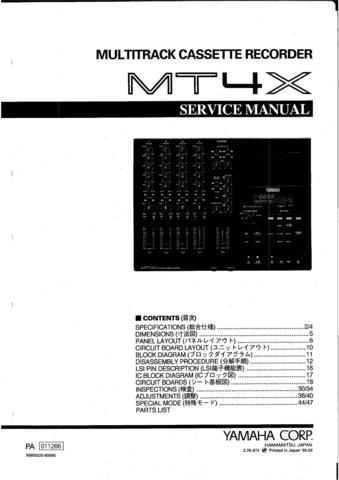 Yamaha MT4X MT-4X Service Manual Repair Schematics / HipComic on