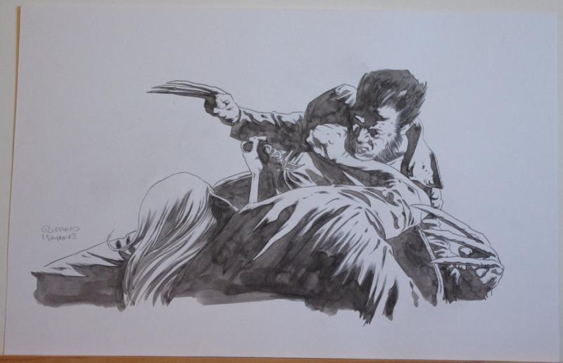 RICHARD ISANOVE original art, SAVAGE WOLVERINE #17, Signed, 11x17, Fight,Stabbed