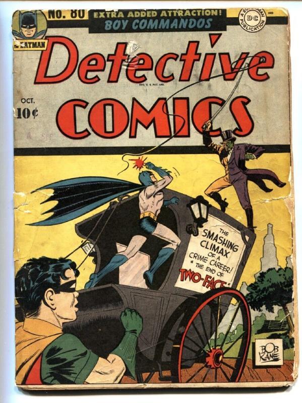 DETECTIVE Comics 80 1943 Batman Two Face Cover Golden Age