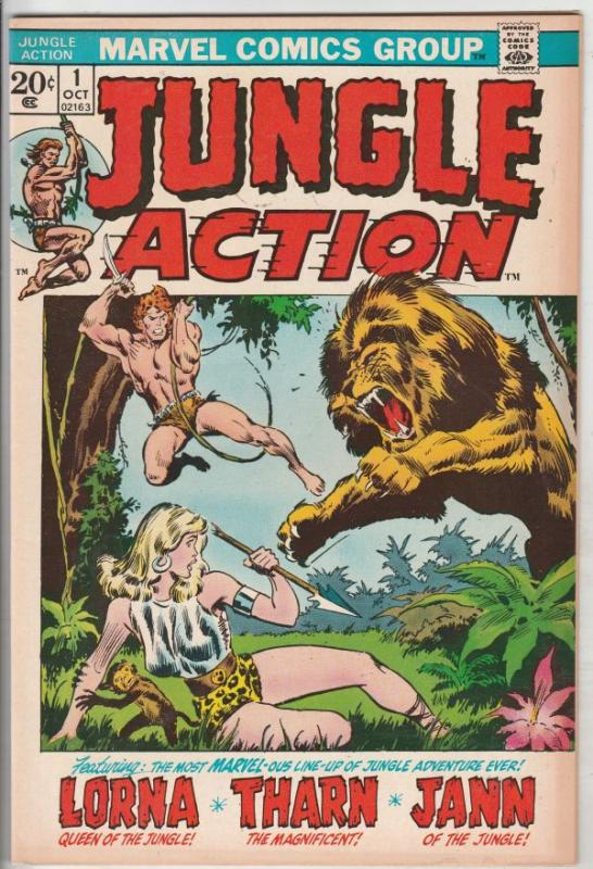 Jungle Action #1 (Oct-72) FN/VF Mid-High-Grade Tharn the Magnificent, Lorna Q...