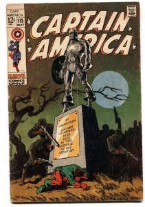 Captain America #113 comic book-Steranko-Marvel-1969-Bucky vg
