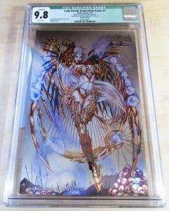 Lady Death Damnation Game #1 Metallic Edition #28/166 Signed COA CGC 9.8 NM/MT