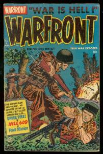 WARFRONT #4 1952-HARVEY COMICS-BRUTAL COMBAT COVER VG/FN