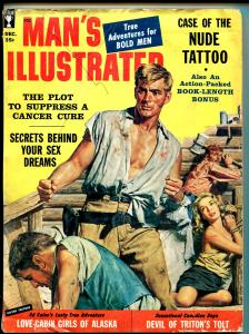 Man's Illustrated 12/1958-Sterling-bound babe-violence-cheesecake-exploitation-G