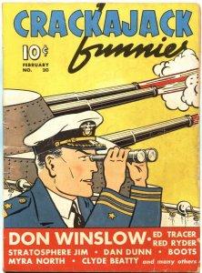 CRACKAJACK FUNNIES #20-1940-TARZAN-RED RYDER-DON WINSLOW-DAN DUNN--RARE