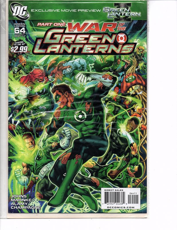 DC Comics Green Lantern #64 1st Print War of the Green Lanterns Geoff Johns