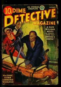 Dime Detective October 1937- Oriental Menace cover- Cornell Woolrich-FAIR