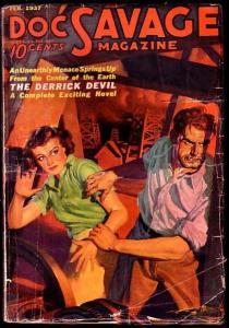 DOC SAVAGE-FEB 1937 GIRL ART COVER-L@@K VG