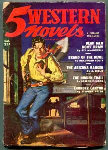 5 Western Novels Pulp March 1950- Brand of the Devil VG