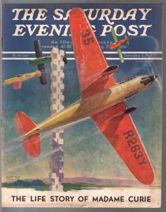 Saturday Evening Post 9/4/1937-air race cover-pulp fiction-Madame Curie-VG/FN